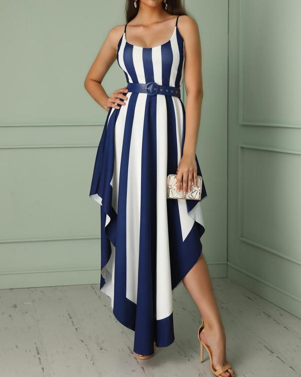 198089f46b47 Contrast Striped Belted Irregular Party Dress Online. Discover hottest  trend fashion at chicme.com