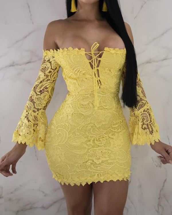 Off Shoulder Flare Sleeve Lace Up Bodycon Dress
