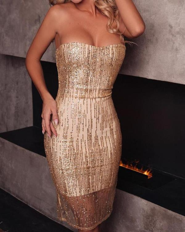 a1f03f3c Mesh Splicing Bandeau Glitter Party Dress Online. Discover hottest trend  fashion at chicme.com