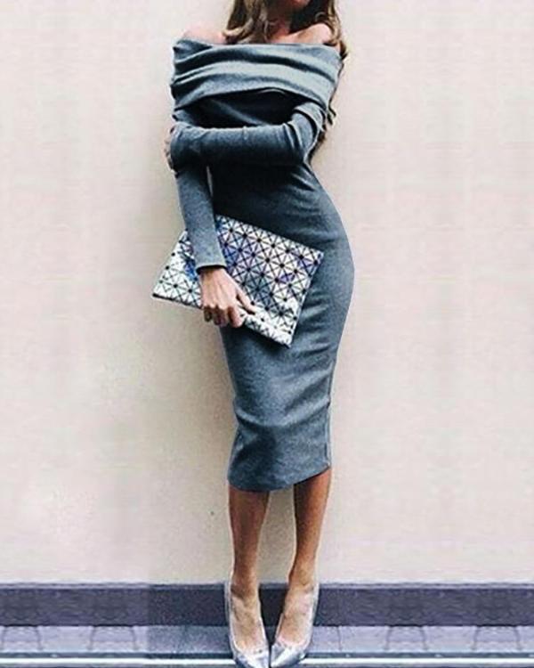 f82f10890e0 Sexy Off Shoulder Slim Fit Midi Dress