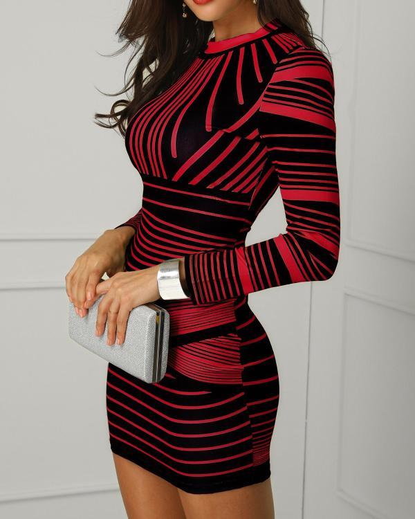 c3367c4563d4 Contrast Striped Long Sleeve Bodycon Dress
