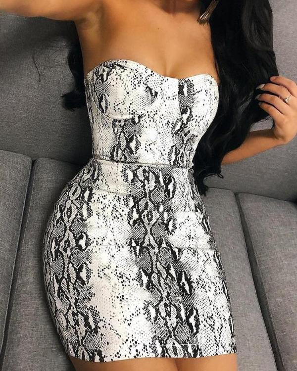 12cbf13f8b9a Snakeskin Print Tube Mini Dress Online. Discover hottest trend fashion at  chicme.com