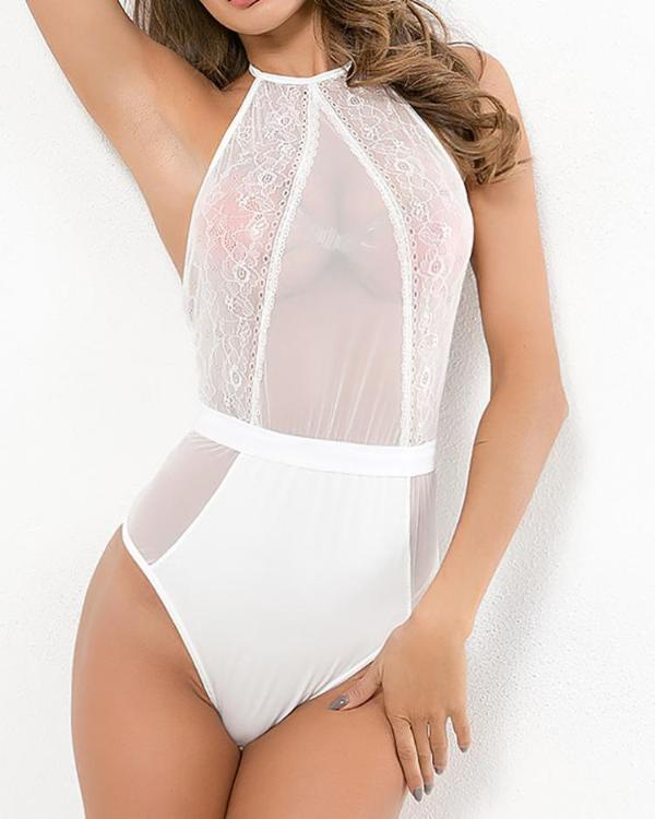 de6045a8253 Sheer Mesh Insert Backless Teddy Bodysuit Online. Discover hottest trend  fashion at chicme.com
