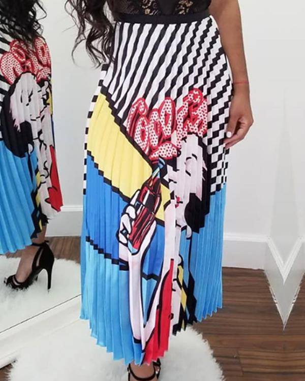 4dcce7fe00 Digital Printing Cartoon Head Pleated Skirt Online. Discover hottest trend  fashion at chicme.com