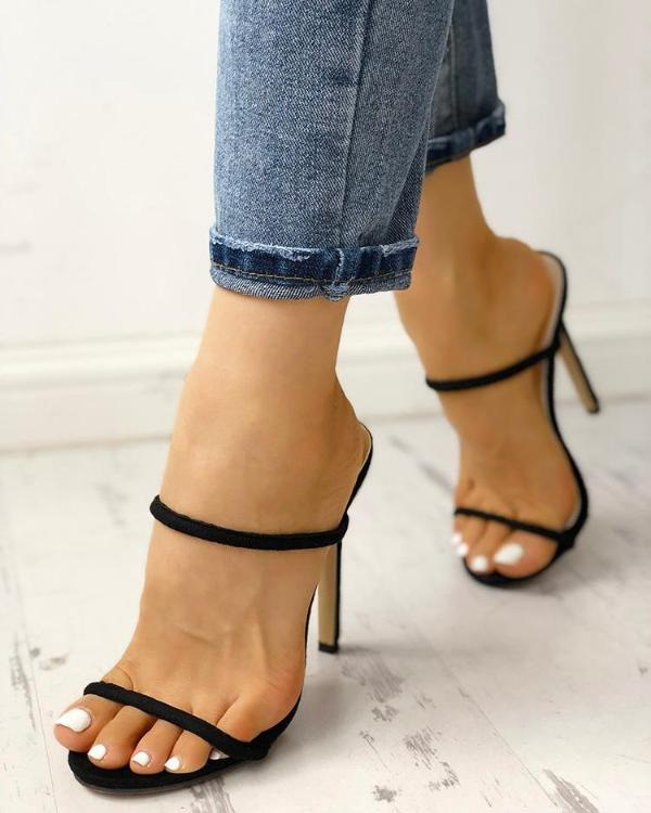 121fbfff547 Concise Double Strap Thin Heeled Sandals Online. Discover hottest trend  fashion at chicme.com