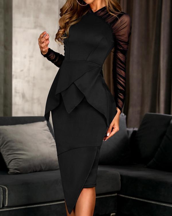 3e571aa3bf9d9e Mesh Sleeve Peplum Irregular Dress Online. Discover hottest trend fashion  at ivrose.com