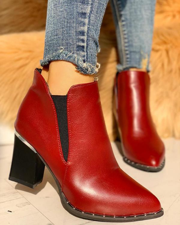 4f687d1f8c5 Pointed Toe Chunky Heeled Boots