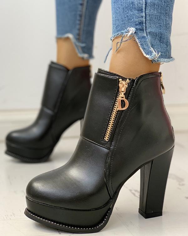 Solid Platform Zipper PU Chunky Heeled Boots