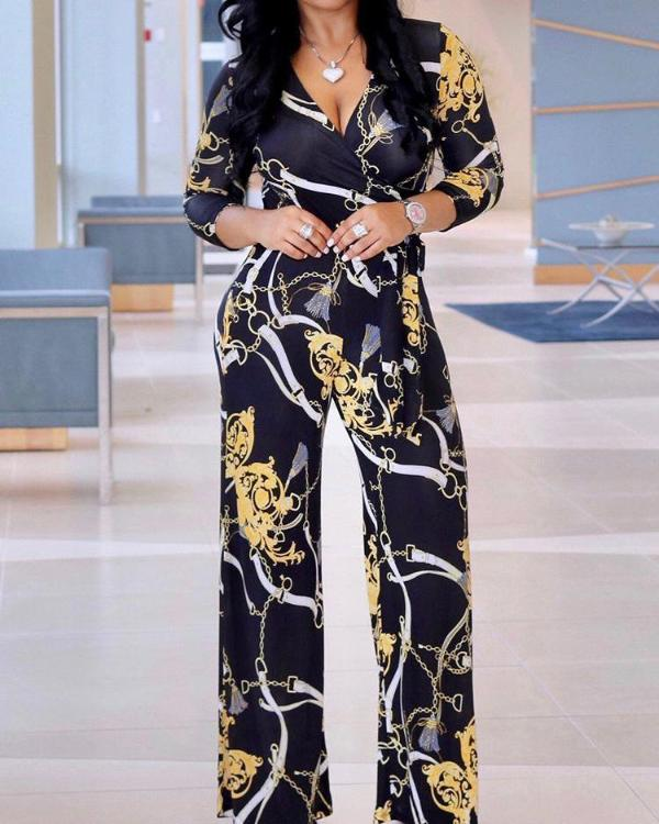 a3aa5a912f01b Retro Chain Print Tie Waist Wrap Jumpsuit Online. Discover hottest trend  fashion at chicme.com
