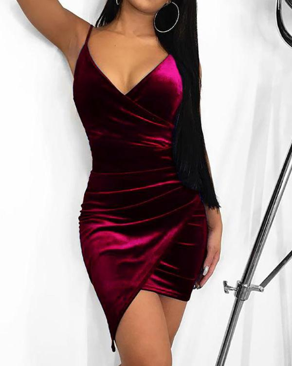 b6fbe5267098 Irregular Wrap Velvet Bodycon Dress Online. Discover hottest trend fashion  at chicme.com
