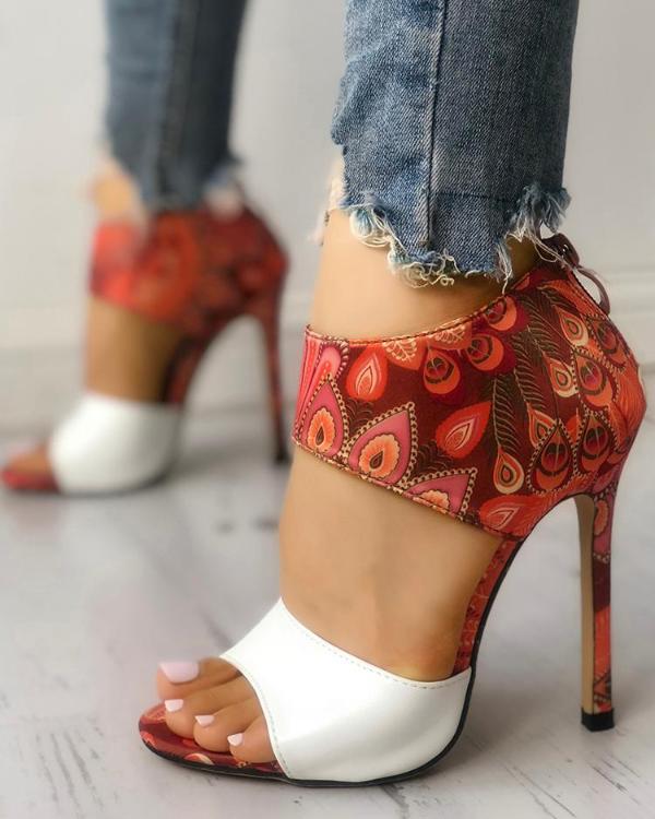 e659125678d Contrast Color Open Toe Thin Heeled Sandals