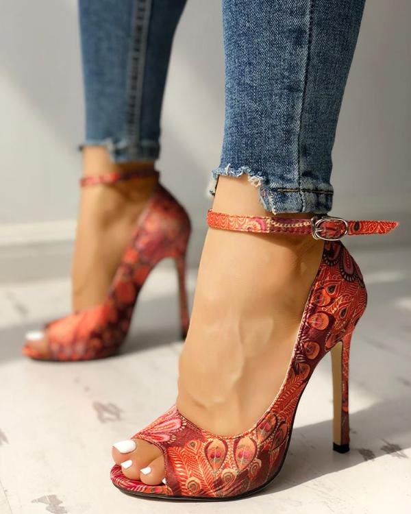707baa6678 Peacock Feather Print Ankle Strap Thin Heeled Sandals Online. Discover  hottest trend fashion at chicme.com