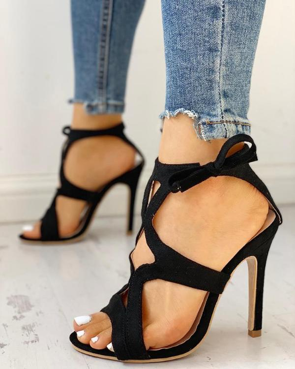 8049f93fc5e Bow Detail Hollow Out Thin Heeled Sandals Online. Discover hottest trend  fashion at chicme.com