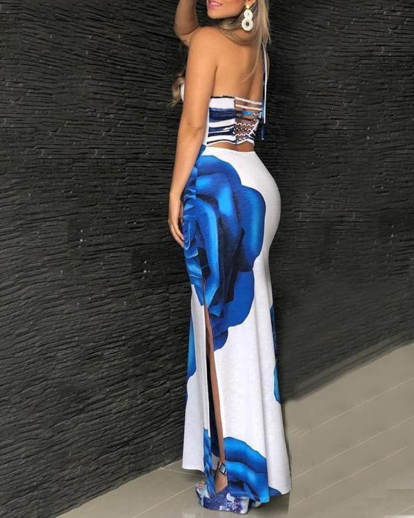 e4081fc3b41 Floral Print Side Slit Open Back Maxi Dress Online. Discover hottest trend  fashion at chicme.com