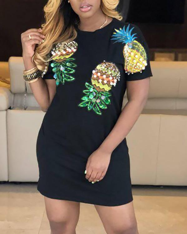 1937b368e414 Pineapple Printed Short-sleeved T-shirt Dress Online. Discover hottest  trend fashion at chicme.com
