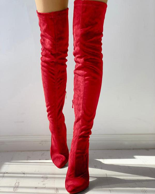 c4dd7b8792 Knee-High Pointed Toe Heels Red Boots Online. Discover hottest trend  fashion at chicme.com