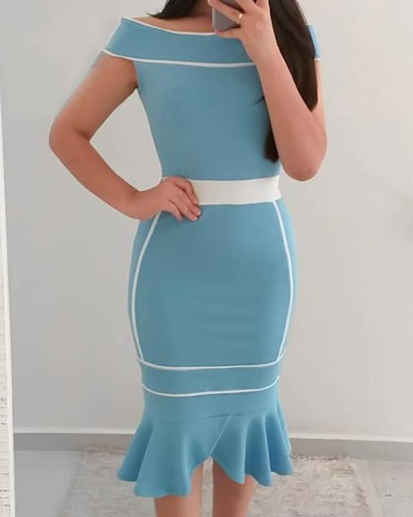 7c42f38ac59 Contrast Binding Off Shoulder Fishtail Dress Online. Discover hottest trend  fashion at chicme.com