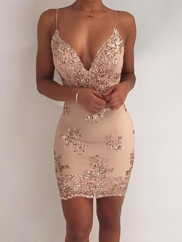 e488668f180 Gold And Silver Plunge V Neck Backless Bodycon Sequin Dress Party Dress  Online. Discover hottest trend fashion at chicme.com