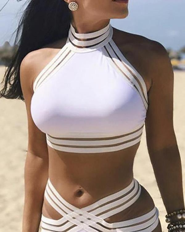 c034f55abe Ladder Cut Out Halter Crisscross Bikini Set Online. Discover hottest trend  fashion at ivrose.com