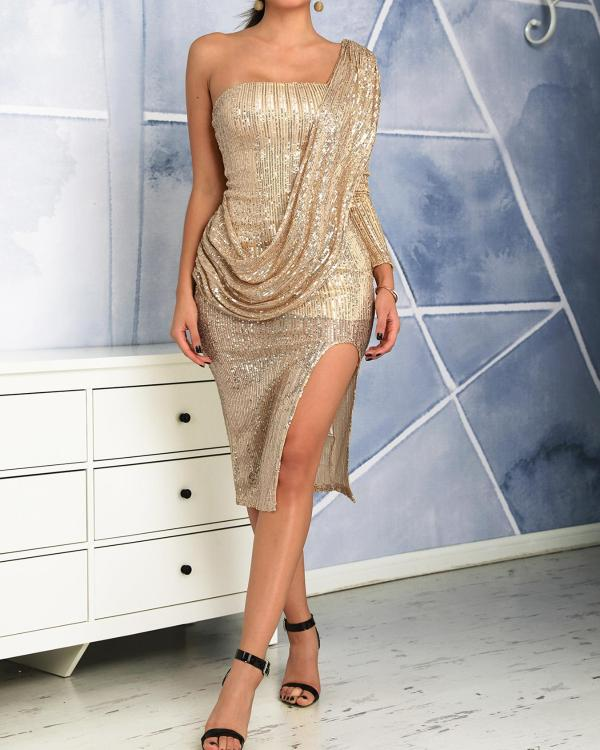 fd48a2c8ca70f One Shoulder Drape Design Slit Sequin Party Dress Online. Discover hottest  trend fashion at chicme.com