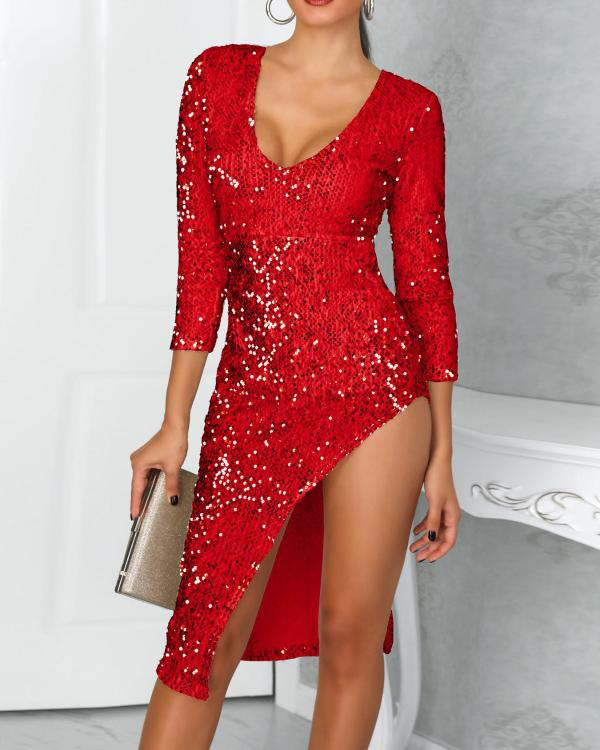 86e51f04b00 Deep V Long Sleeve Split Sequin Dress Online. Discover hottest trend  fashion at chicme.com