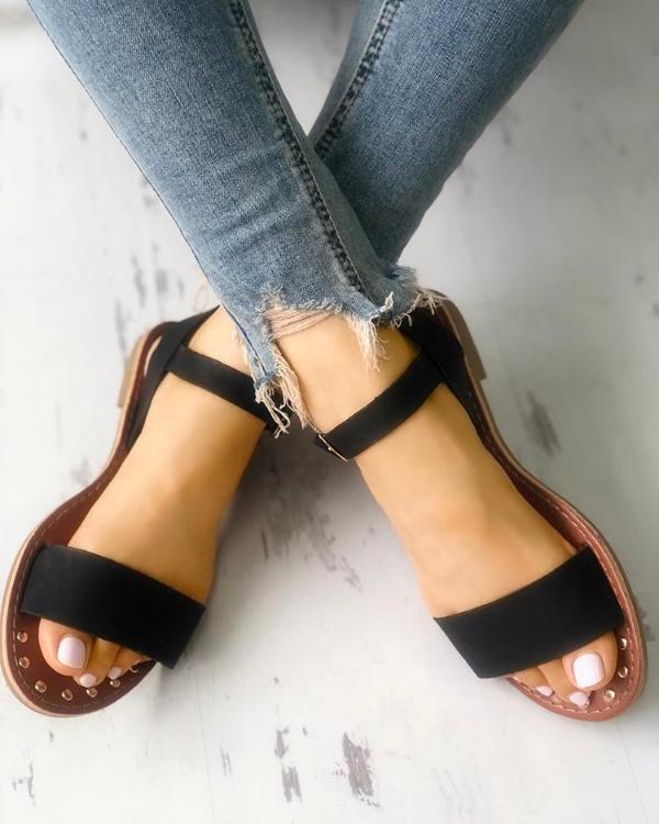 2fb7552823f Sling Back Ankle Strap Single Band Flat Sandal Online. Discover hottest  trend fashion at chicme.com