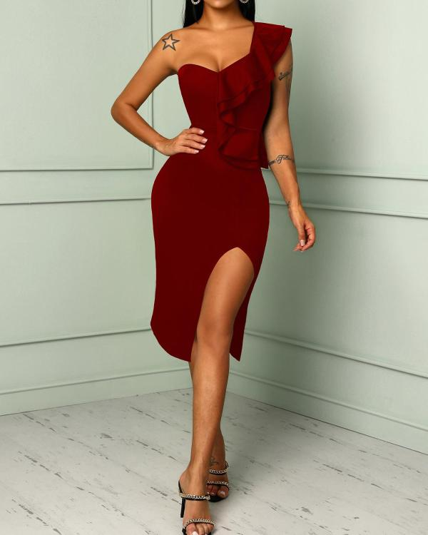 4c5929eeb36 Solid One Shoulder Ruffles Trim Slit Bodycon Dress Online. Discover hottest  trend fashion at chicme.com