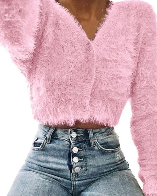 V Neck Fluffy Knitting Sweater