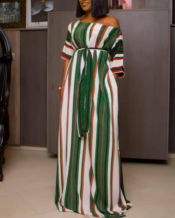 473030bd5e Half Sleeve Colorful Striped Maxi Dress Online. Discover hottest trend  fashion at chicme.com