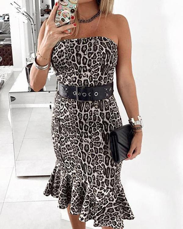 04b8927661 Leopard Print Pep Hem Bodycon Tube Dress Online. Discover hottest trend  fashion at chicme.com