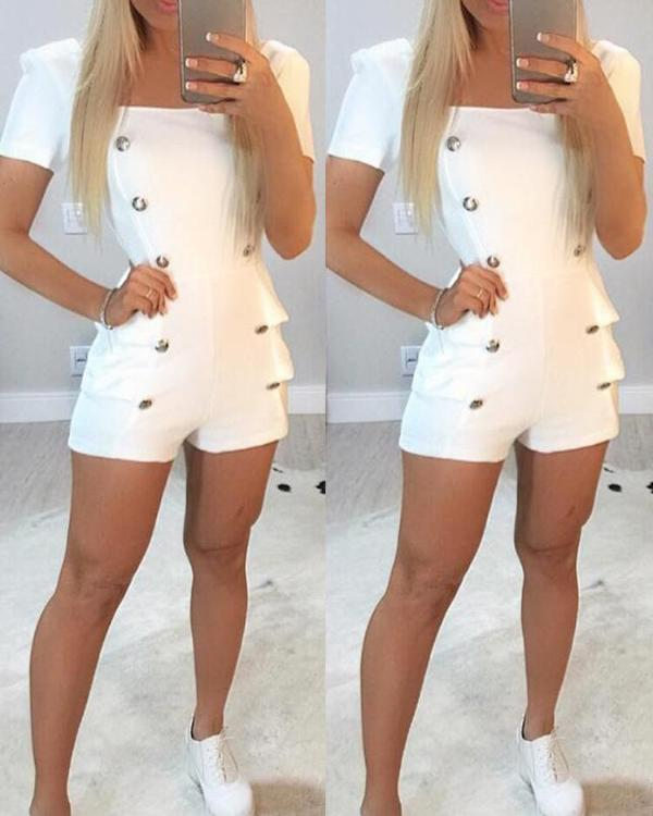 50164c2583 Double-Breasted Short Sleeve White Romper Online. Discover hottest trend  fashion at chicme.com