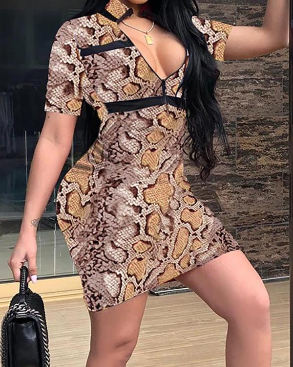 4ee8af8e5cc2 Plunge Snakeskin Print Bodycon Dress Online. Discover hottest trend fashion  at chicme.com