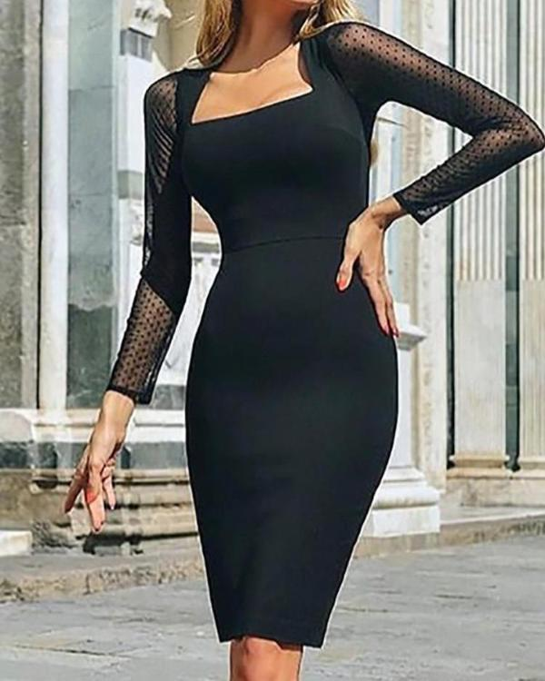 fb6e507a5855 Square Neck Mesh Sleeve Bodycon Dress Online. Discover hottest trend  fashion at chicme.com