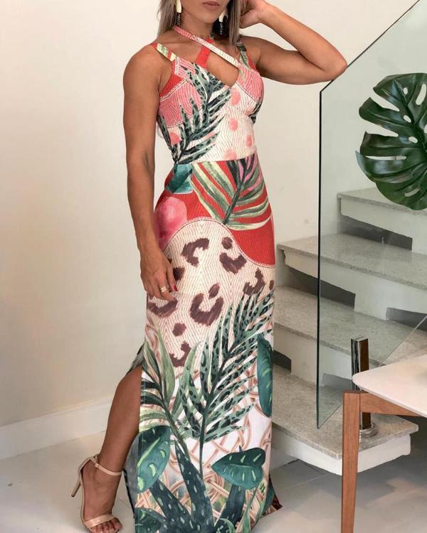 5c3a56f4477 Floral Print Crisscross Design Slit Maxi Dress Online. Discover hottest  trend fashion at chicme.com