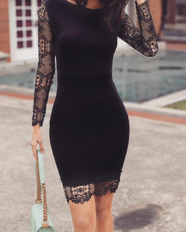 c7290547 Hollow Out Lace Splicing Bodycon Dress Online. Discover hottest trend  fashion at chicme.com