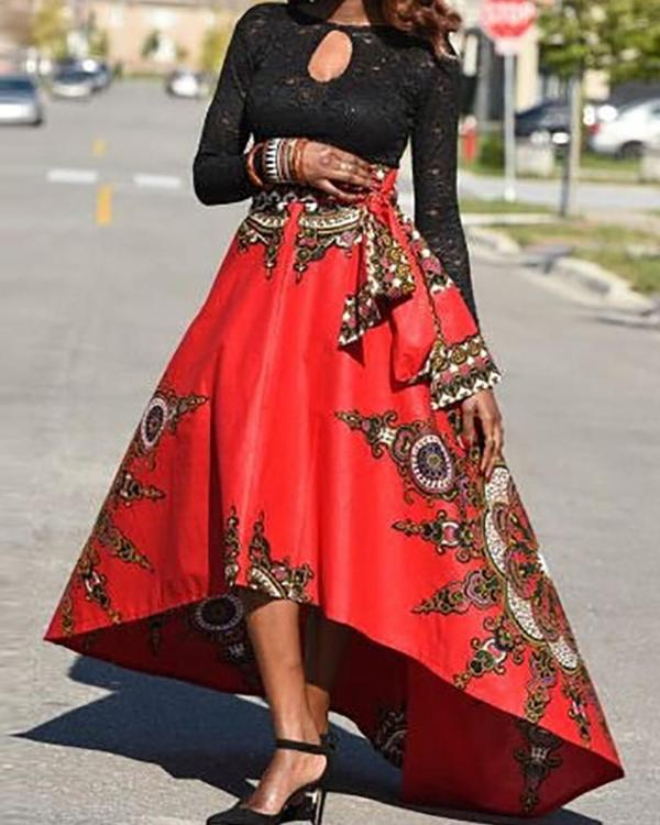 e48d84a900f1 Trendy Ethnic Style High Waist High-Low Maxi Skirt Online. Discover hottest  trend fashion at chicme.com