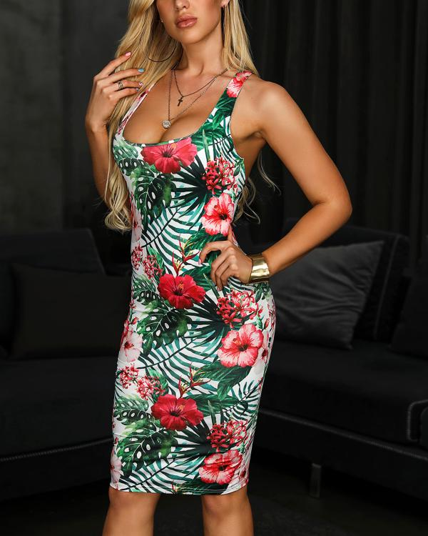 64ebeb864 Crisscross Back Tropical Print Bodycon Dress Online. Discover hottest trend  fashion at ivrose.com