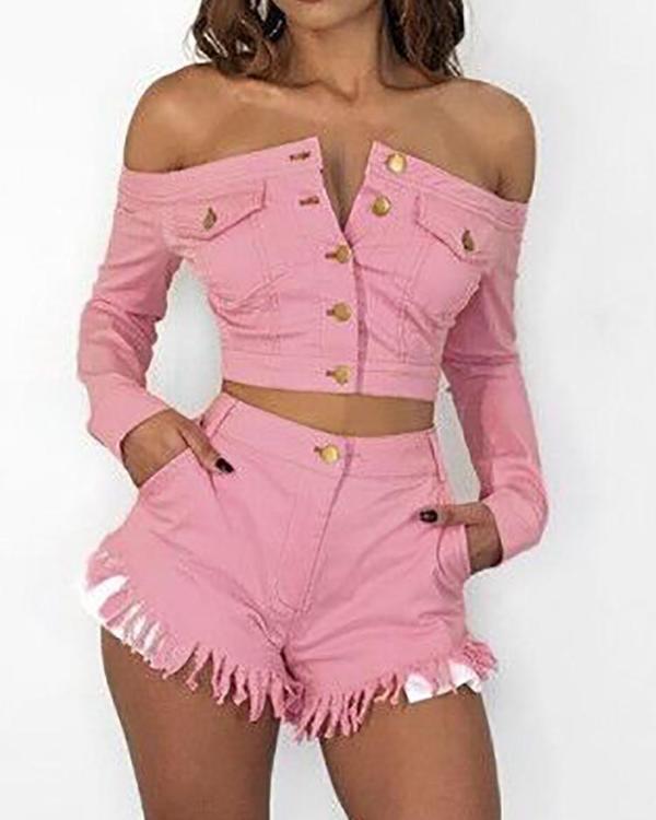 778fea7d7f245 Denim Off Shoulder Crop Top   Tassel Hem Shorts Sets Online. Discover  hottest trend fashion at chicme.com