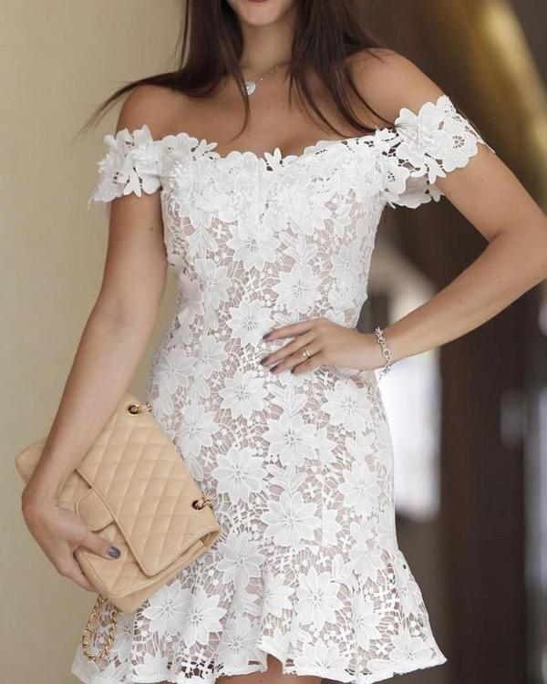 9572b27f67e Off Shoulder Crochet Lace Pep Hem Mini Dress Online. Discover hottest trend  fashion at chicme.com