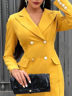 Solid Double-Breasted Long Sleeve Blazer Dresses