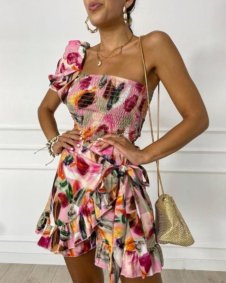 Floral One Shoulder Shirring Top & Wrap Skorts