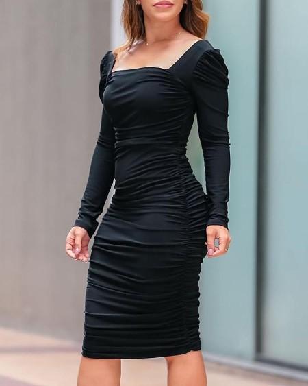 Square Neck Ruched Design Midi Dress