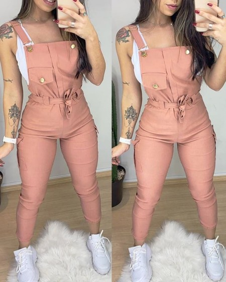 Pocket Design Plain Suspender Jumpsuit