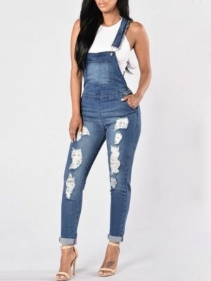 Fashion Pocket Raw Cut Denim Suspender Jeans