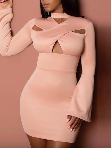 Cutout Crisscross Flared Sleeve Bodycon Dress