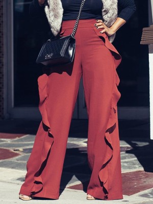 Solid Color Ruffles Detailed Flared Trousers