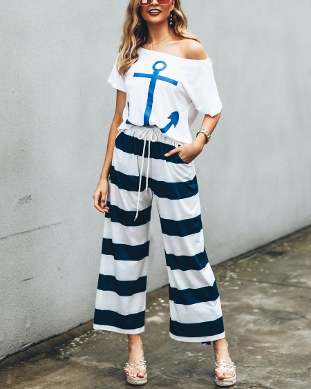 Boat Anchor Print Top & Striped Pant Sets