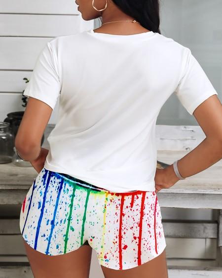 Lip Print Colorblock Top & Shorts Set
