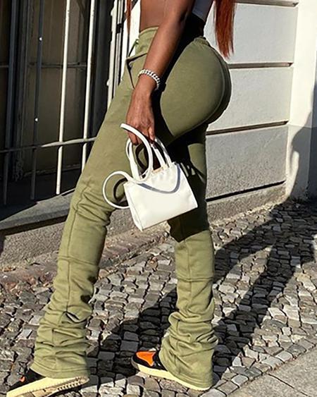 Pocket Design Drawstring Ruched Sweatpants
