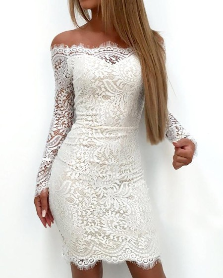 Splicing Lace Applique Off Shoulder Bodycon Dress